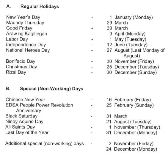 list of regular holidays and special (non-working) days for 2018